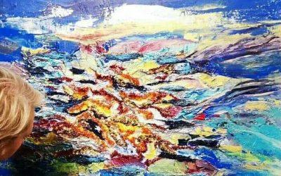 La Nébuleuse, mixte peinture broderie, exposition internationale Senlis